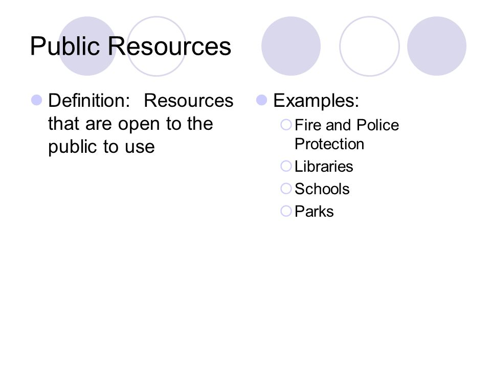 Public Resources Definition: Resources that are open to the public to use Examples: Fire and Police Protection Libraries Schools Parks