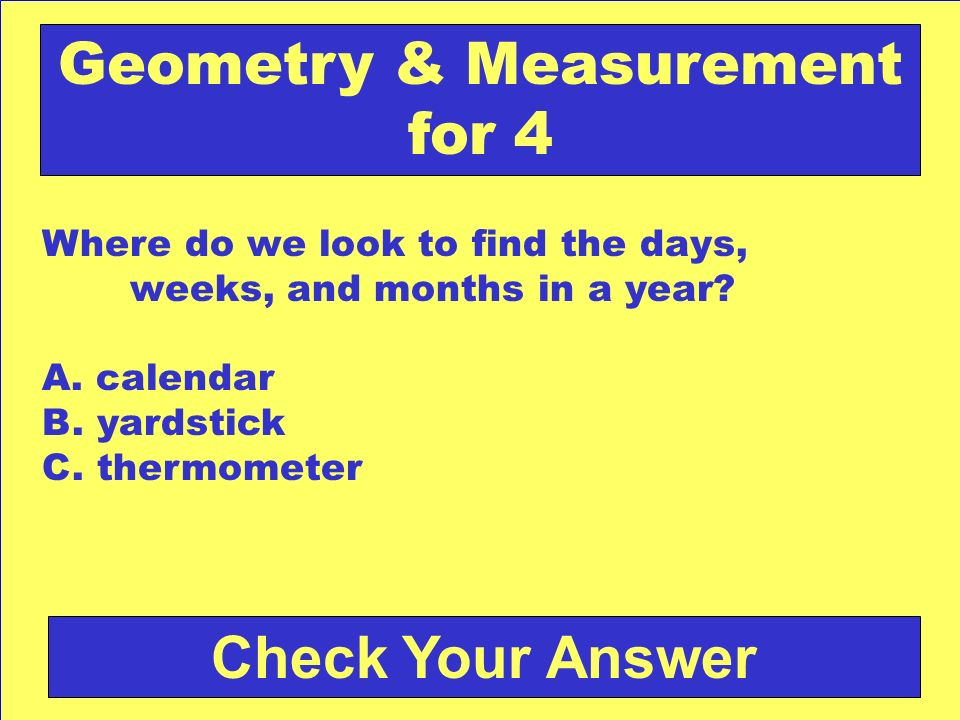 Answer: b. October Back to the Game Board Geometry & Measurement for 3
