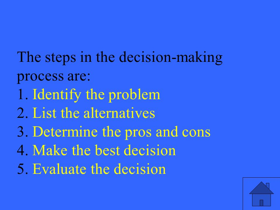 43 The steps in the decision-making process are: 1.
