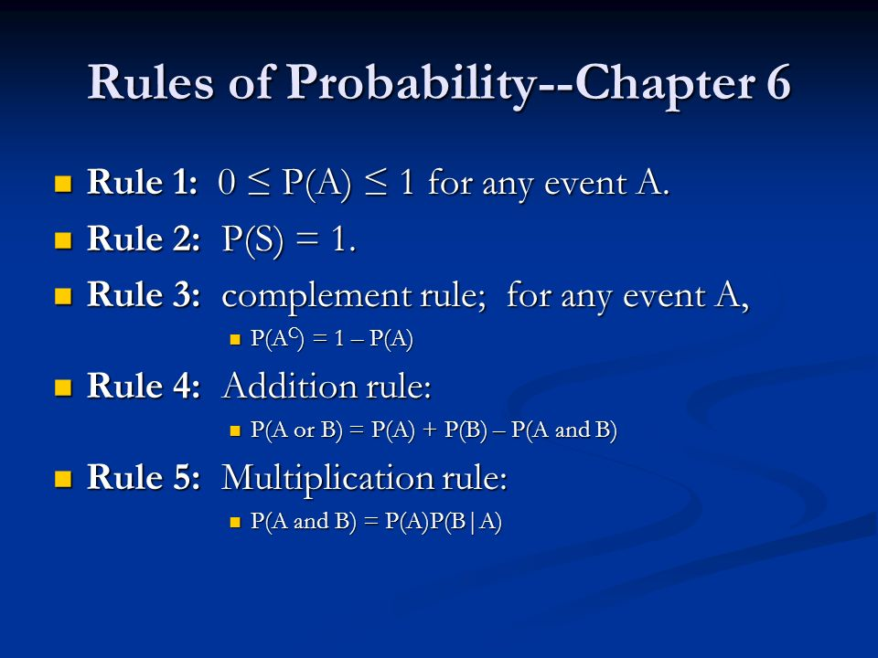 Rule 1: 0 P(A) 1 for any event A. Rule 1: 0 P(A) 1 for any event A.