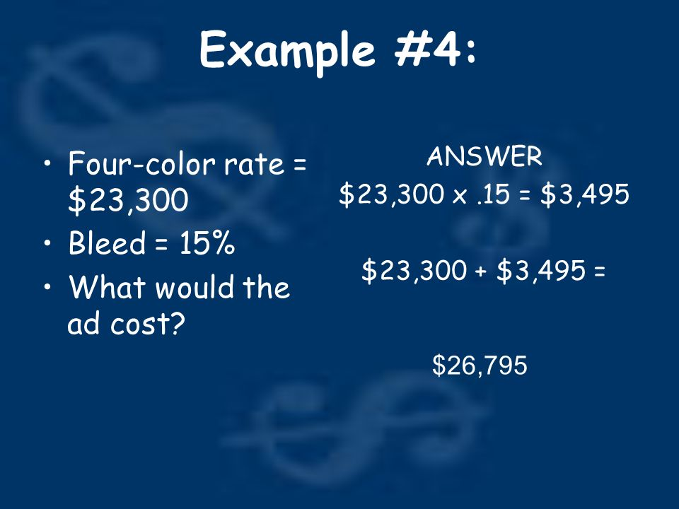 Example #4: Four-color rate = $23,300 Bleed = 15% What would the ad cost.