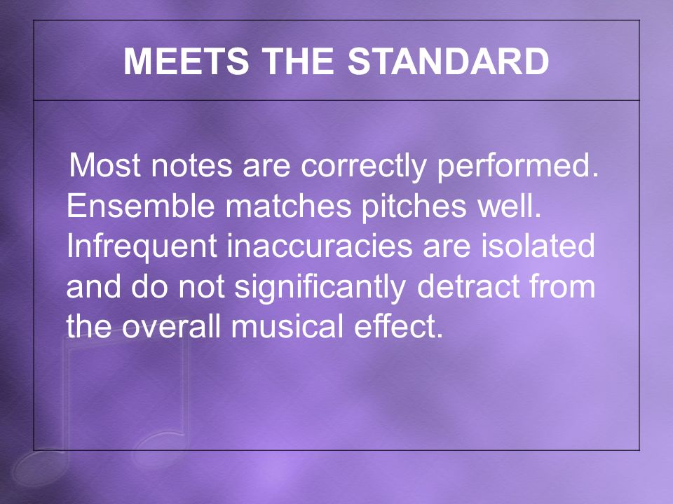 MEETS THE STANDARD Most notes are correctly performed.