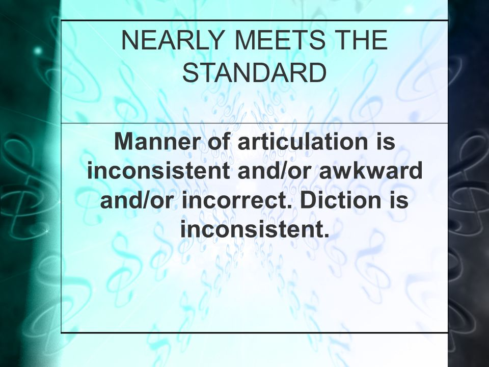 NEARLY MEETS THE STANDARD Manner of articulation is inconsistent and/or awkward and/or incorrect.