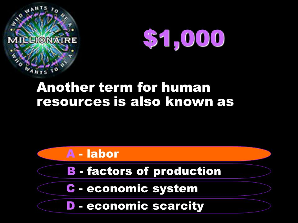 $1,000 Another term for human resources is also known as B - factors of production A - labor C - economic system D - economic scarcity A - labor