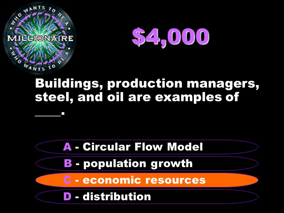 $4,000 Buildings, production managers, steel, and oil are examples of ____.