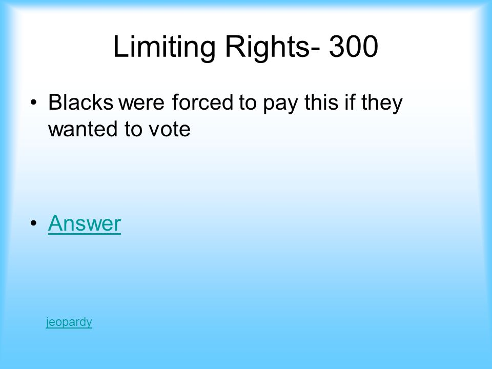 Limiting rights- 200 Black Codes Jeopardy