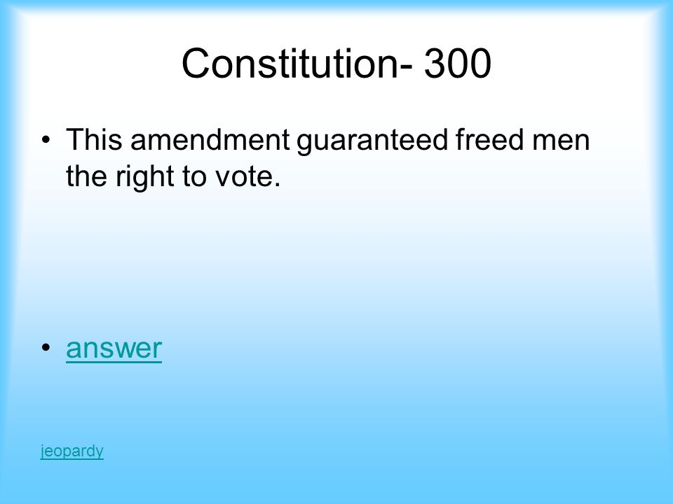 Answer constitution 200 Gave citizenship to all and said all citizens are equal in the eyes of the law.