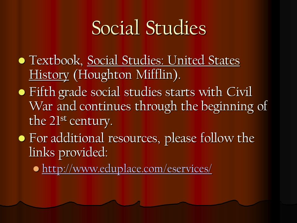 Social Studies Textbook, Social Studies: United States History (Houghton Mifflin).