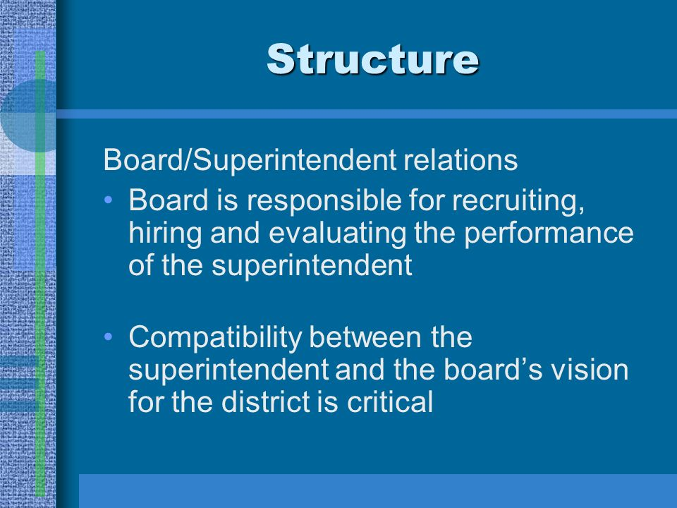 Structure Board/Superintendent relations Board is responsible for recruiting, hiring and evaluating the performance of the superintendent Compatibility between the superintendent and the boards vision for the district is critical