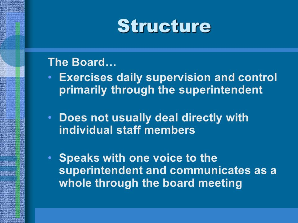 Structure The Board… Exercises daily supervision and control primarily through the superintendent Does not usually deal directly with individual staff members Speaks with one voice to the superintendent and communicates as a whole through the board meeting
