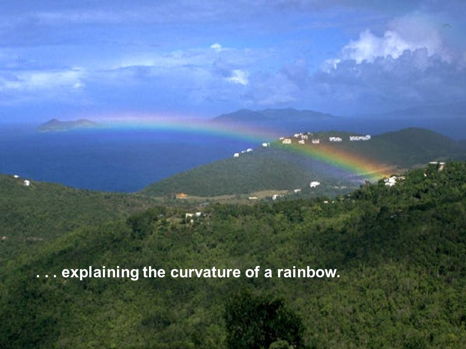 ... explaining the curvature of a rainbow.