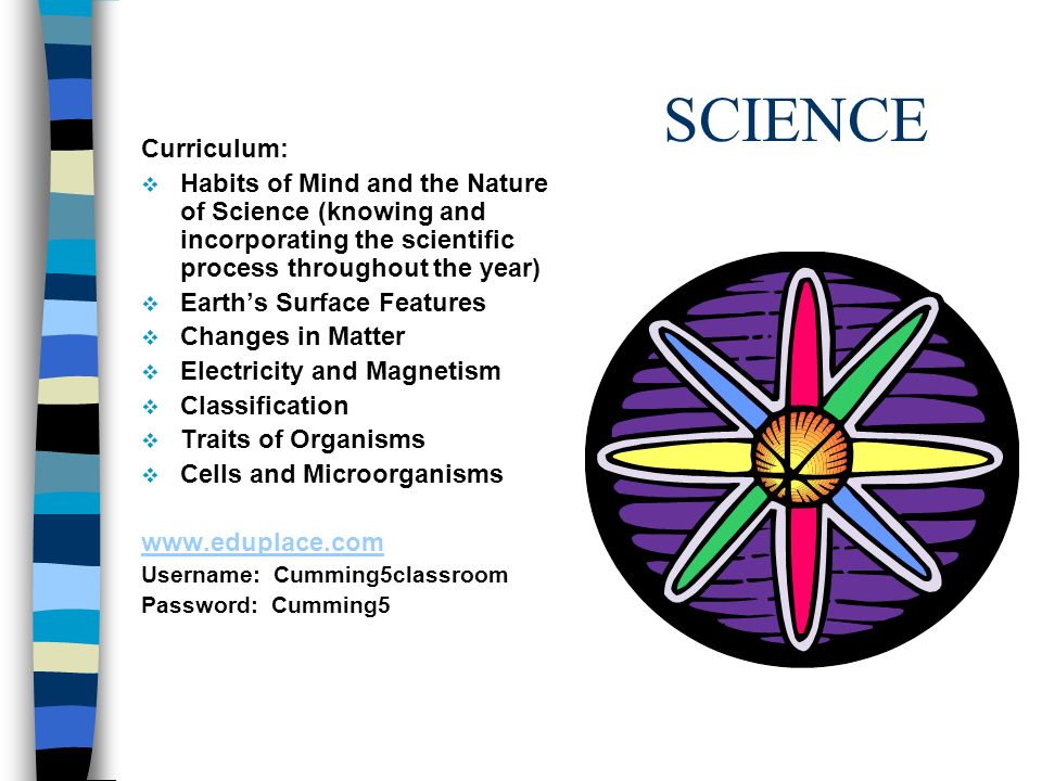 SCIENCE Curriculum: Habits of Mind and the Nature of Science (knowing and incorporating the scientific process throughout the year) Earths Surface Features Changes in Matter Electricity and Magnetism Classification Traits of Organisms Cells and Microorganisms www.eduplace.com Username: Cumming5classroom Password: Cumming5