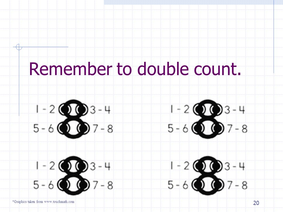 19 Three more to go… *Graphics taken from www.touchmath.com