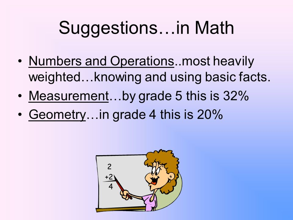 Suggestions…in Math Numbers and Operations..most heavily weighted…knowing and using basic facts.
