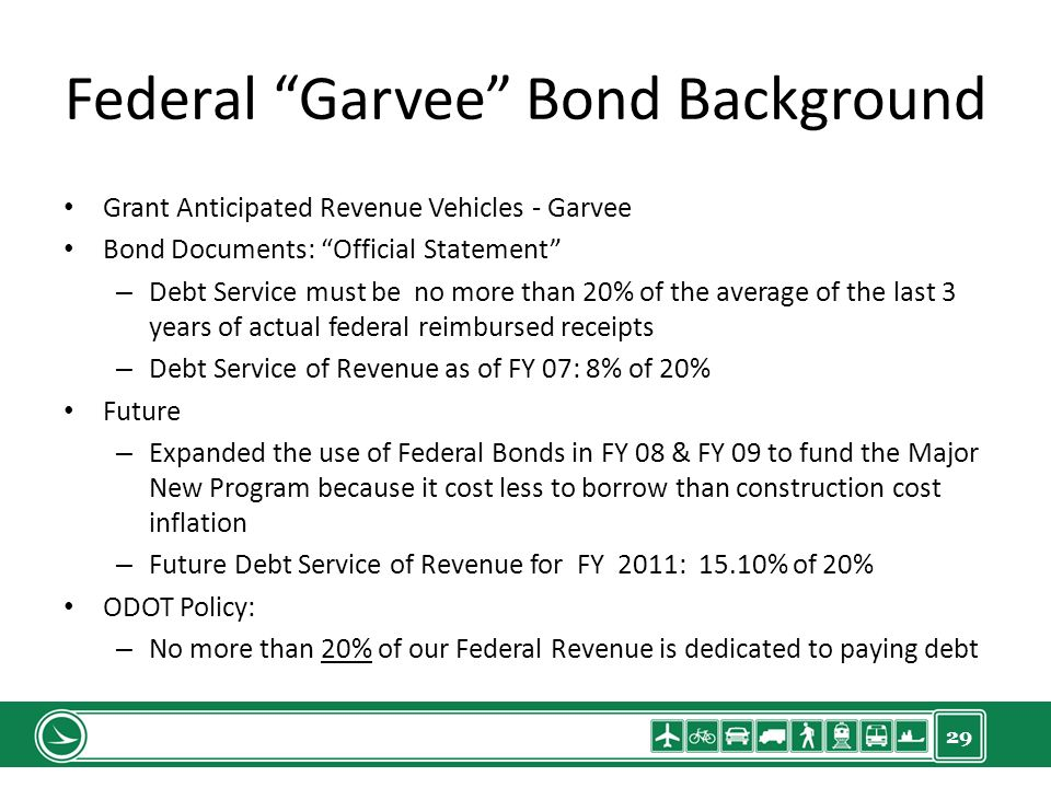 29 Federal Garvee Bond Background Grant Anticipated Revenue Vehicles - Garvee Bond Documents: Official Statement – Debt Service must be no more than 20% of the average of the last 3 years of actual federal reimbursed receipts – Debt Service of Revenue as of FY 07: 8% of 20% Future – Expanded the use of Federal Bonds in FY 08 & FY 09 to fund the Major New Program because it cost less to borrow than construction cost inflation – Future Debt Service of Revenue for FY 2011: 15.10% of 20% ODOT Policy: – No more than 20% of our Federal Revenue is dedicated to paying debt