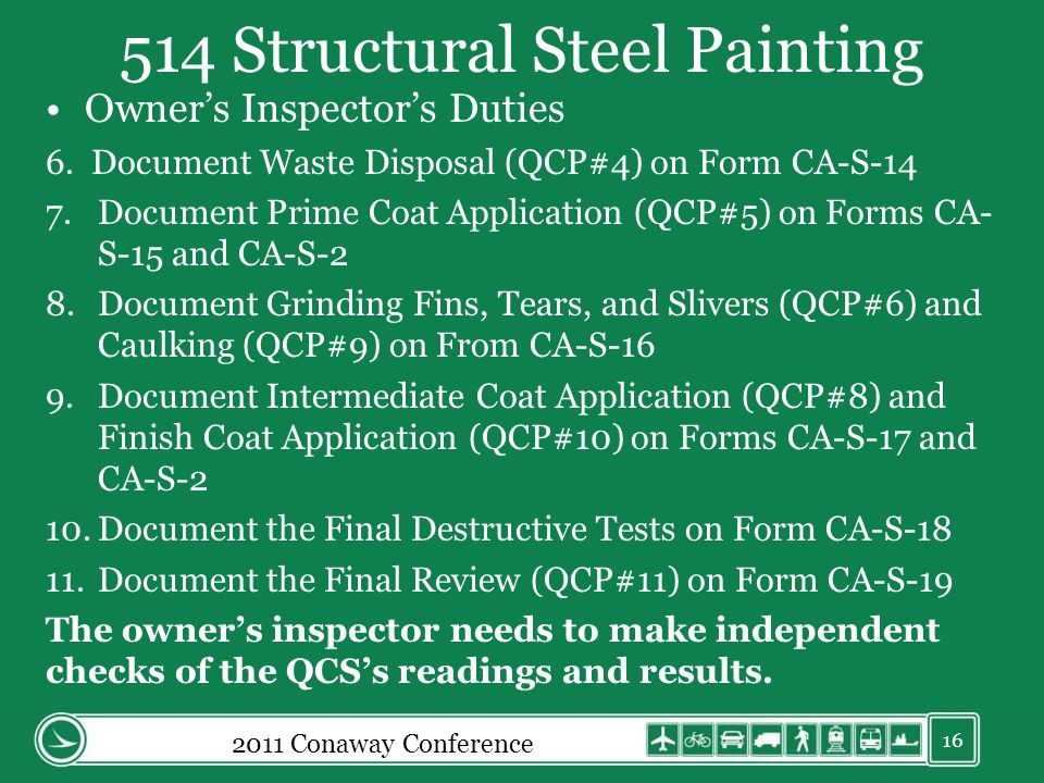 514 Structural Steel Painting Owners Inspectors Duties 6.