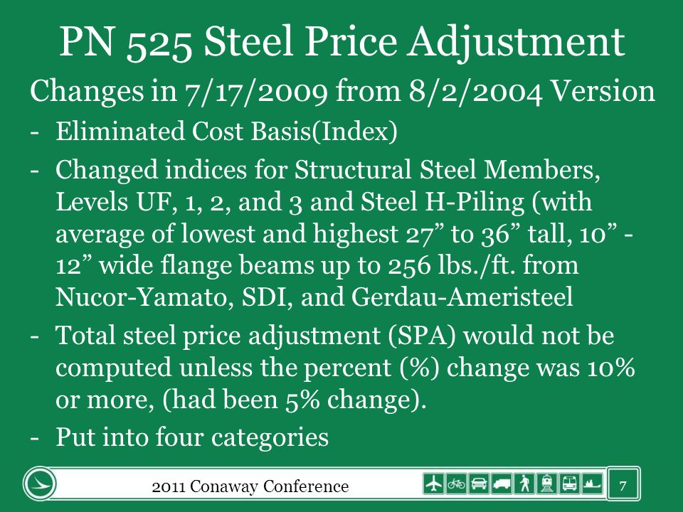 PN 525 Steel Price Adjustment Changes in 7/17/2009 from 8/2/2004 Version -Eliminated Cost Basis(Index) -Changed indices for Structural Steel Members, Levels UF, 1, 2, and 3 and Steel H-Piling (with average of lowest and highest 27 to 36 tall, 10 - 12 wide flange beams up to 256 lbs./ft.
