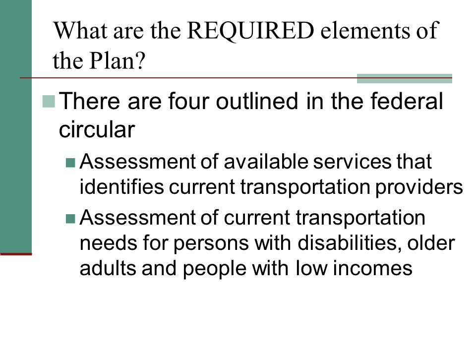What are the REQUIRED elements of the Plan.
