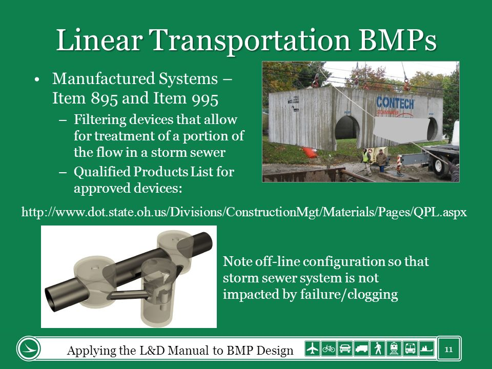 Linear Transportation BMPs Manufactured Systems – Item 895 and Item 995 –Filtering devices that allow for treatment of a portion of the flow in a storm sewer –Qualified Products List for approved devices: Note off-line configuration so that storm sewer system is not impacted by failure/clogging Applying the L&D Manual to BMP Design 11 http://www.dot.state.oh.us/Divisions/ConstructionMgt/Materials/Pages/QPL.aspx