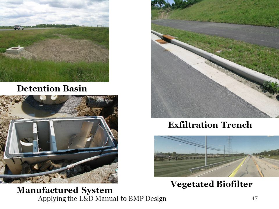 Manufactured System Vegetated Biofilter Exfiltration Trench Detention Basin 47 Applying the L&D Manual to BMP Design