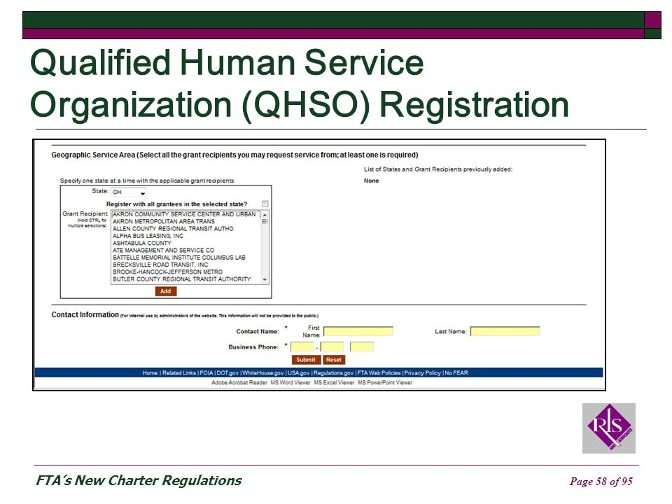 FTAs New Charter Regulations Page 58 of 95 Qualified Human Service Organization (QHSO) Registration