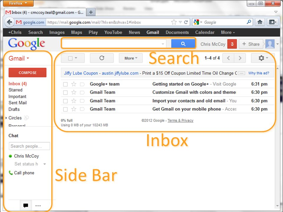 Search Inbox Side Bar