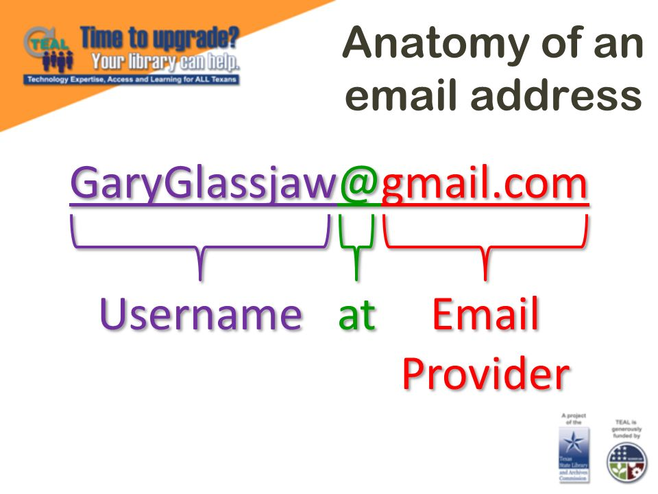 Anatomy of an email address GaryGlassjaw@gmail.com Username at Email Provider Email Provider