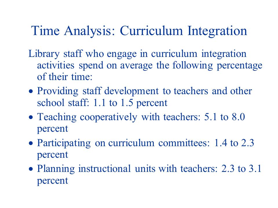 Time Analysis: Curriculum Integration Library staff who engage in curriculum integration activities spend on average the following percentage of their time: Providing staff development to teachers and other school staff: 1.1 to 1.5 percent Teaching cooperatively with teachers: 5.1 to 8.0 percent Participating on curriculum committees: 1.4 to 2.3 percent Planning instructional units with teachers: 2.3 to 3.1 percent