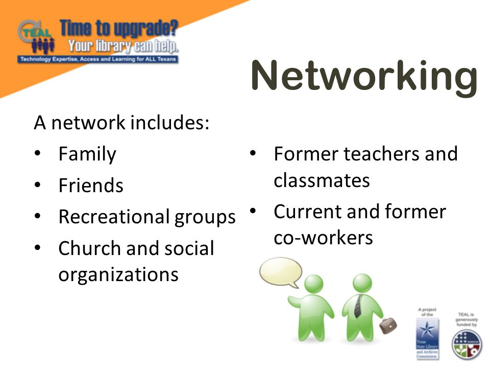 Networking A network includes: Family Friends Recreational groups Church and social organizations Former teachers and classmates Current and former co-workers