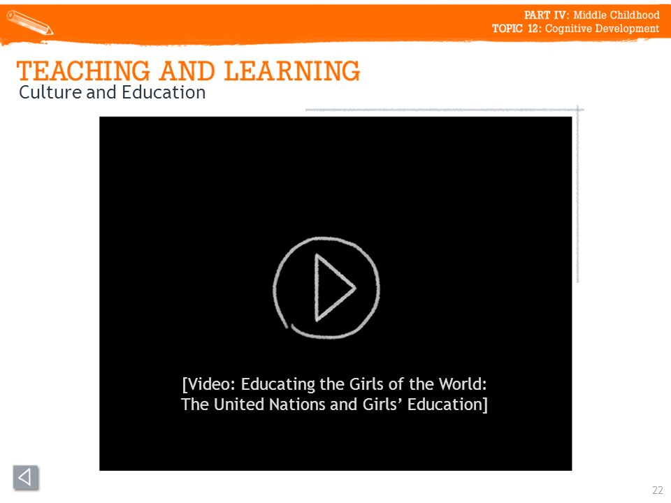 22 Culture and Education [Video: Educating the Girls of the World: The United Nations and Girls Education]