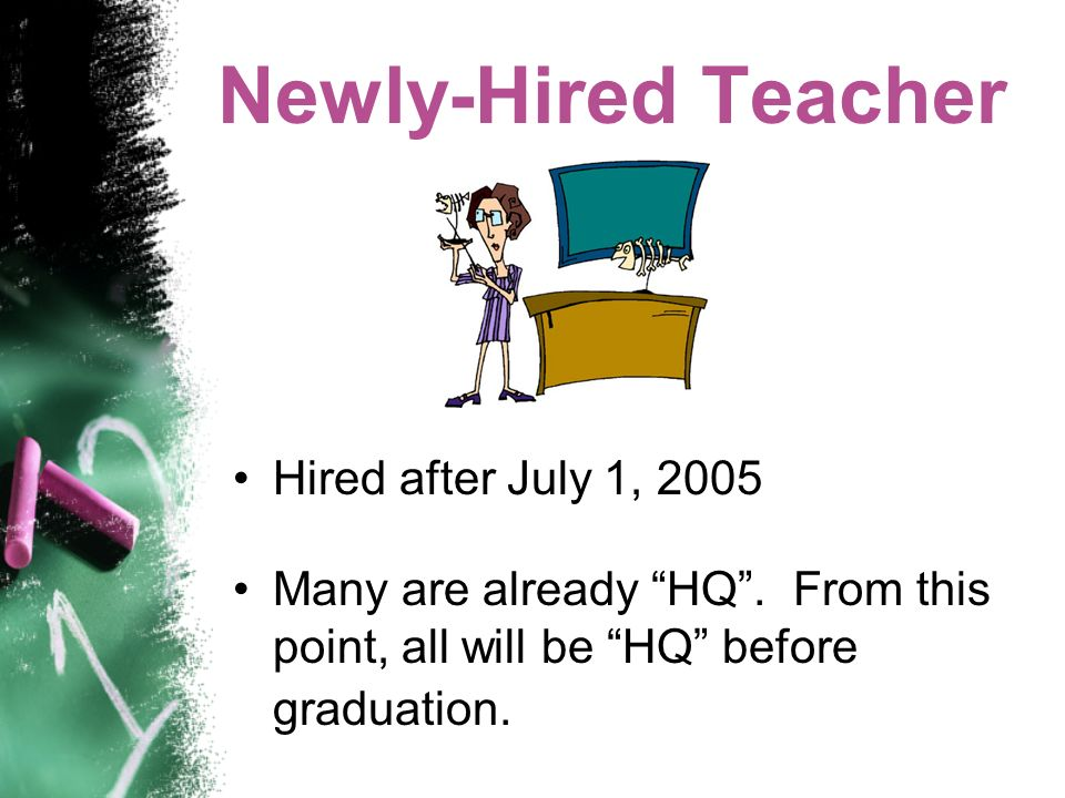 Newly-Hired Teacher Hired after July 1, 2005 Many are already HQ.