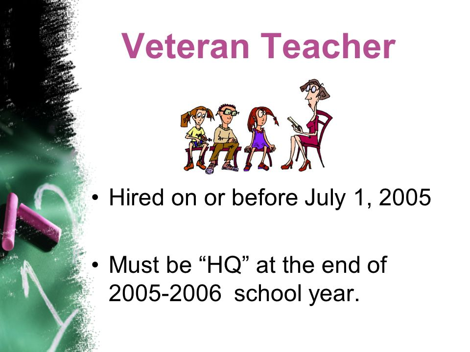 Veteran Teacher Hired on or before July 1, 2005 Must be HQ at the end of 2005-2006 school year.