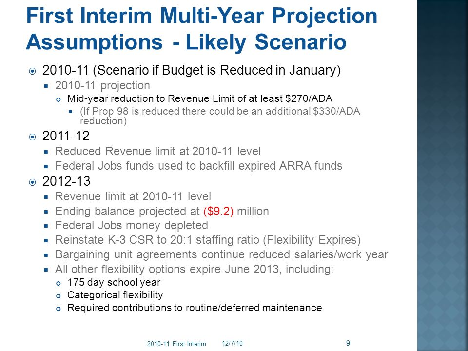 2010-11 (Scenario if Budget is Reduced in January) 2010-11 projection Mid-year reduction to Revenue Limit of at least $270/ADA (If Prop 98 is reduced there could be an additional $330/ADA reduction) 2011-12 Reduced Revenue limit at 2010-11 level Federal Jobs funds used to backfill expired ARRA funds 2012-13 Revenue limit at 2010-11 level Ending balance projected at ($9.2) million Federal Jobs money depleted Reinstate K-3 CSR to 20:1 staffing ratio (Flexibility Expires) Bargaining unit agreements continue reduced salaries/work year All other flexibility options expire June 2013, including: 175 day school year Categorical flexibility Required contributions to routine/deferred maintenance 12/7/10 2010-11 First Interim 9