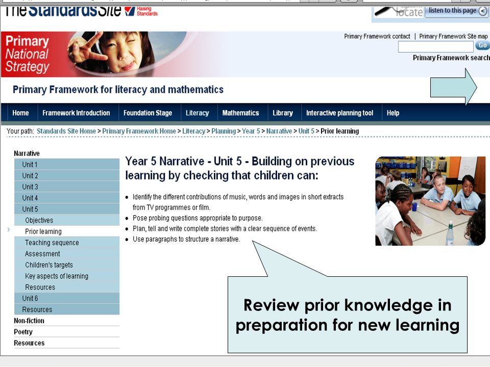 Review prior knowledge in preparation for new learning