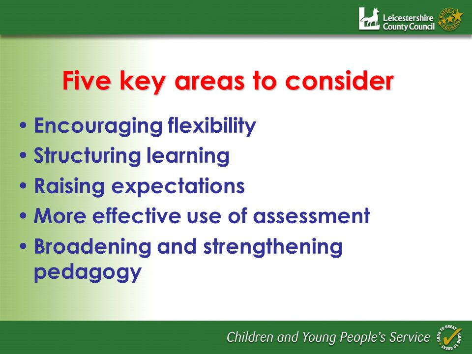 Five key areas to consider Encouraging flexibility Structuring learning Raising expectations More effective use of assessment Broadening and strengthening pedagogy