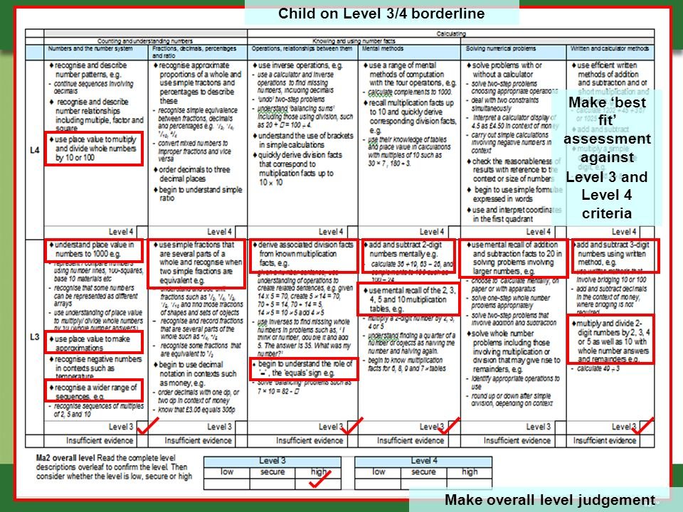 Make overall level judgement Child on Level 3/4 borderline Make best fit assessment against Level 3 and Level 4 criteria