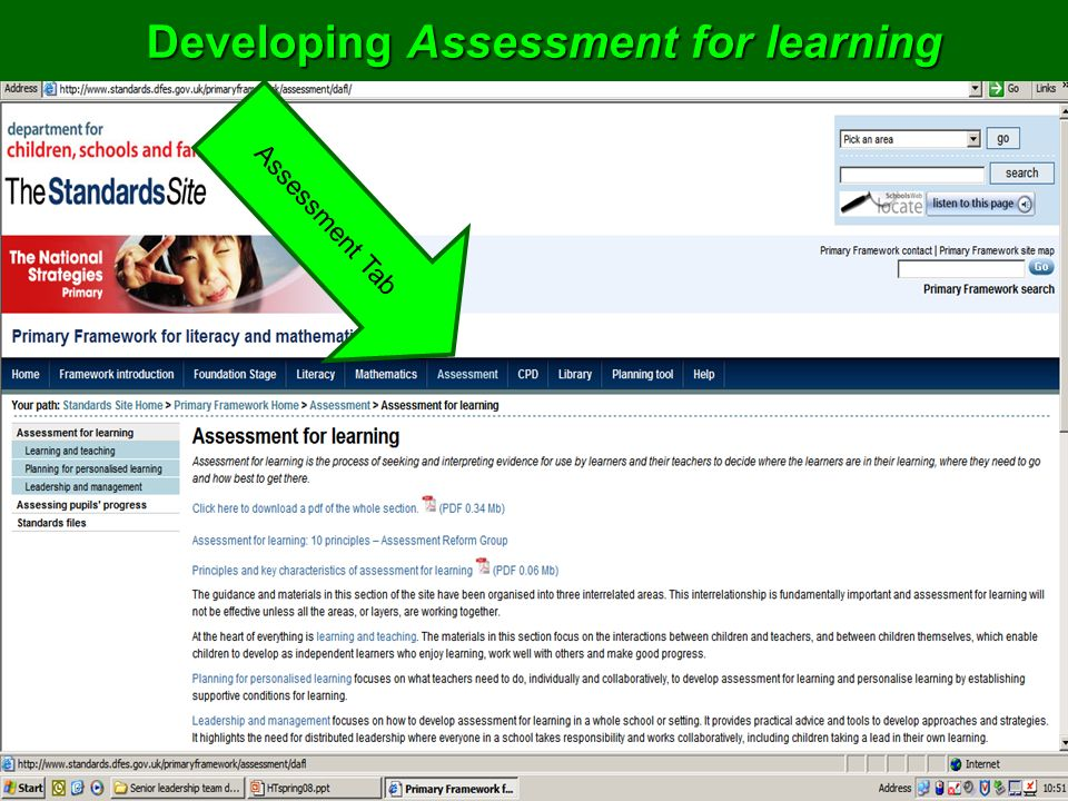 Developing Assessment for learning Assessment Tab