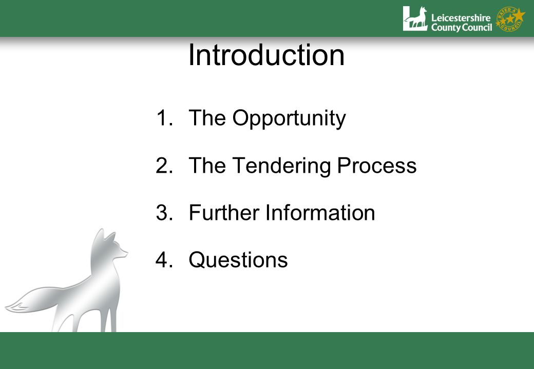 Introduction 1.The Opportunity 2.The Tendering Process 3.Further Information 4.Questions