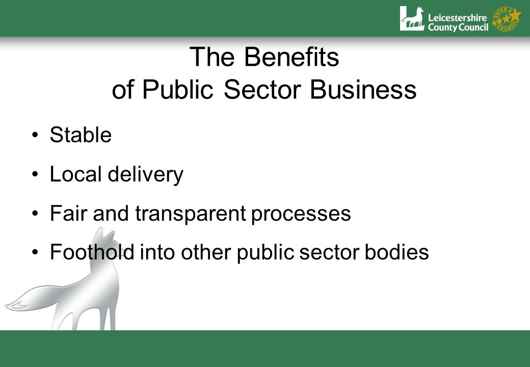 The Benefits of Public Sector Business Stable Local delivery Fair and transparent processes Foothold into other public sector bodies