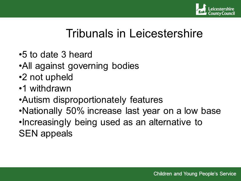 Children and Young Peoples Service Tribunals in Leicestershire 5 to date 3 heard All against governing bodies 2 not upheld 1 withdrawn Autism disproportionately features Nationally 50% increase last year on a low base Increasingly being used as an alternative to SEN appeals