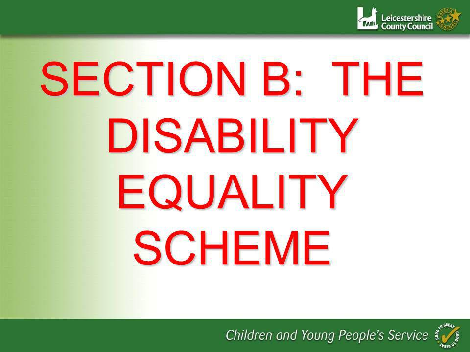 SECTION B: THE DISABILITY EQUALITY SCHEME