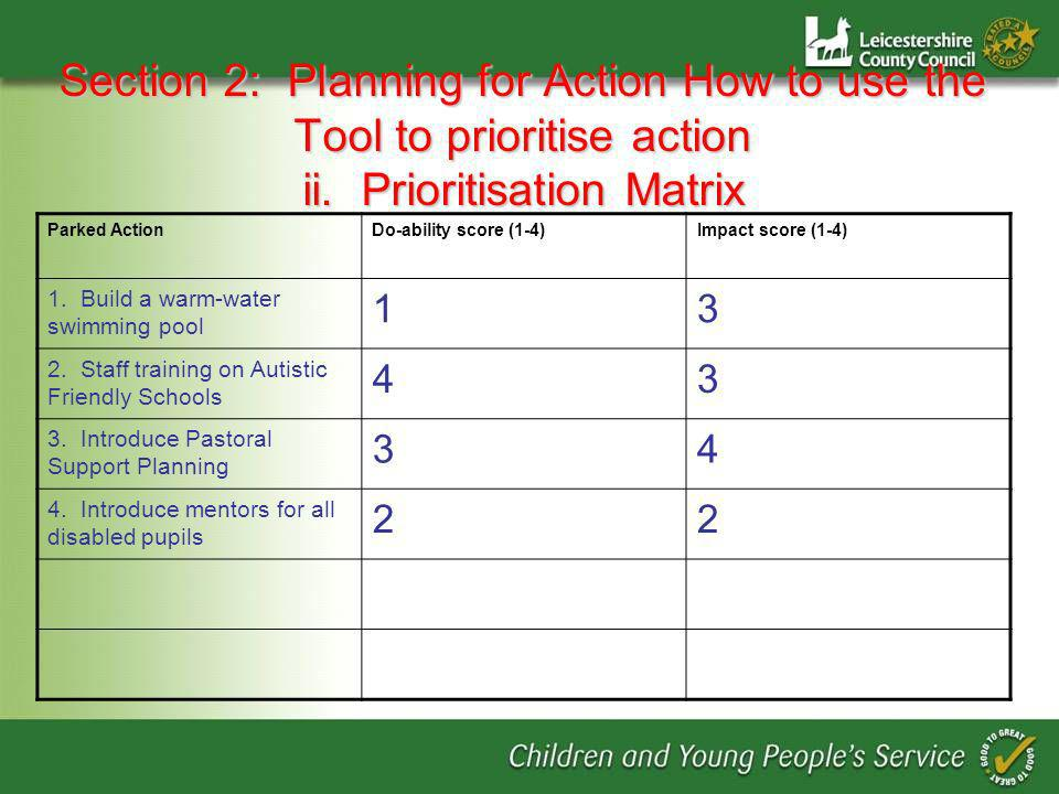 Section 2: Planning for Action How to use the Tool to prioritise action ii.