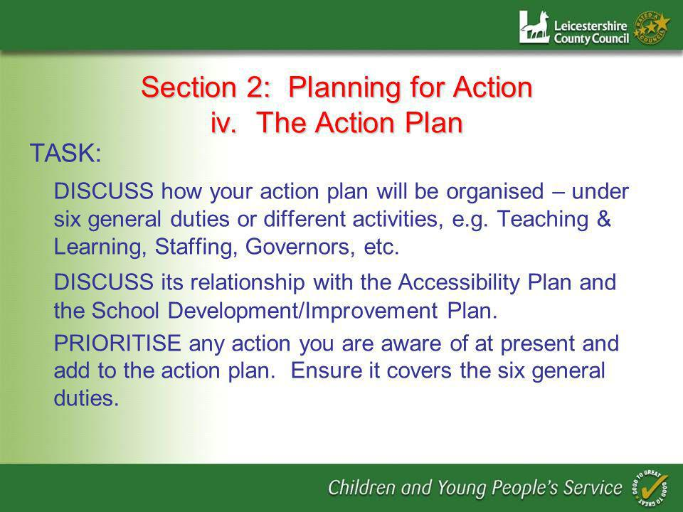 Section 2: Planning for Action iv.