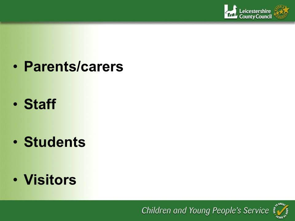 Parents/carers Staff Students Visitors