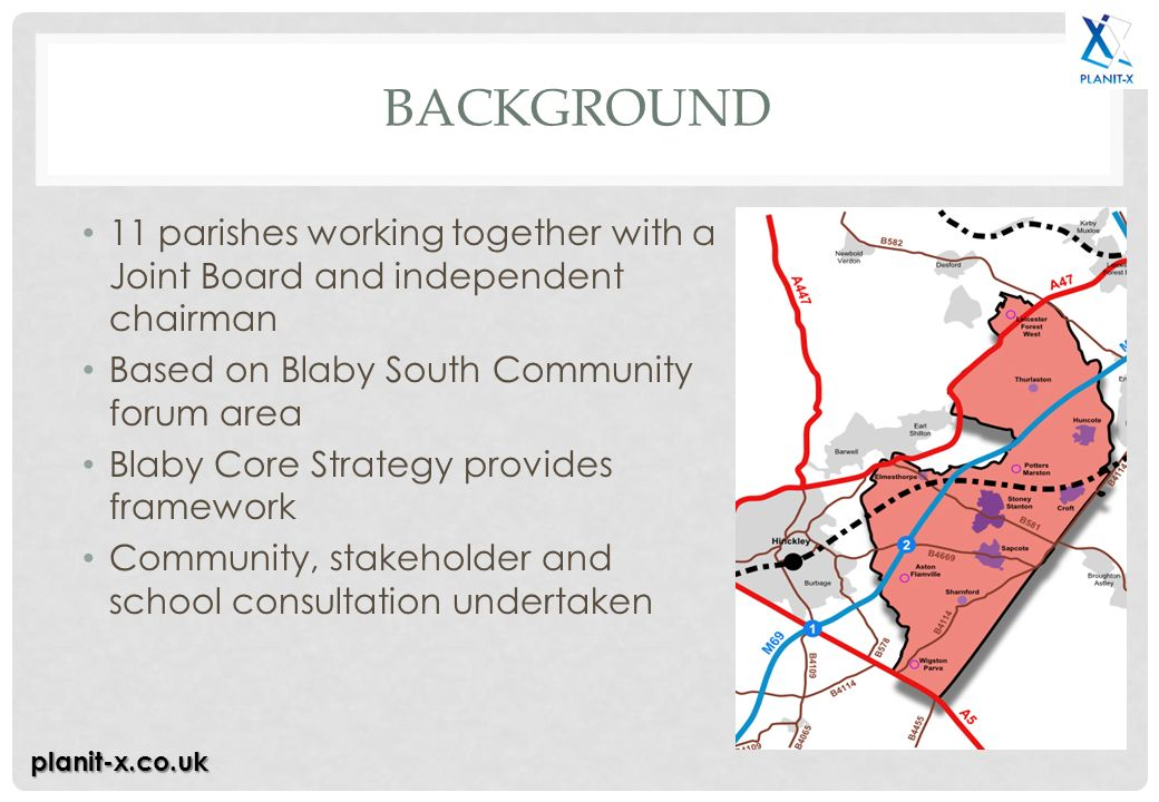 BACKGROUND 11 parishes working together with a Joint Board and independent chairman Based on Blaby South Community forum area Blaby Core Strategy provides framework Community, stakeholder and school consultation undertaken planit-x.co.uk