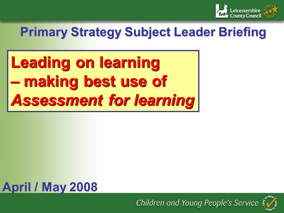 Primary Strategy Subject Leader Briefing April / May 2008 Leading on learning – making best use of Assessment for learning