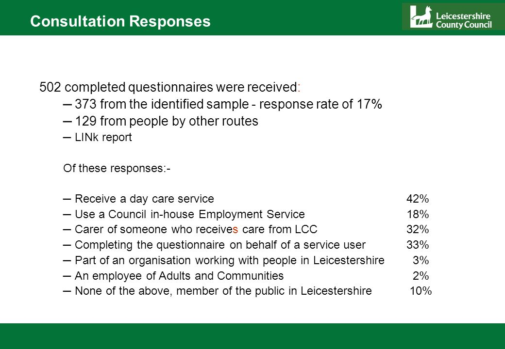 Consultation Responses 502 completed questionnaires were received: – 373 from the identified sample - response rate of 17% – 129 from people by other routes – LINk report Of these responses:- – Receive a day care service 42% – Use a Council in-house Employment Service 18% – Carer of someone who receives care from LCC 32% – Completing the questionnaire on behalf of a service user 33% – Part of an organisation working with people in Leicestershire 3% – An employee of Adults and Communities 2% – None of the above, member of the public in Leicestershire 10%