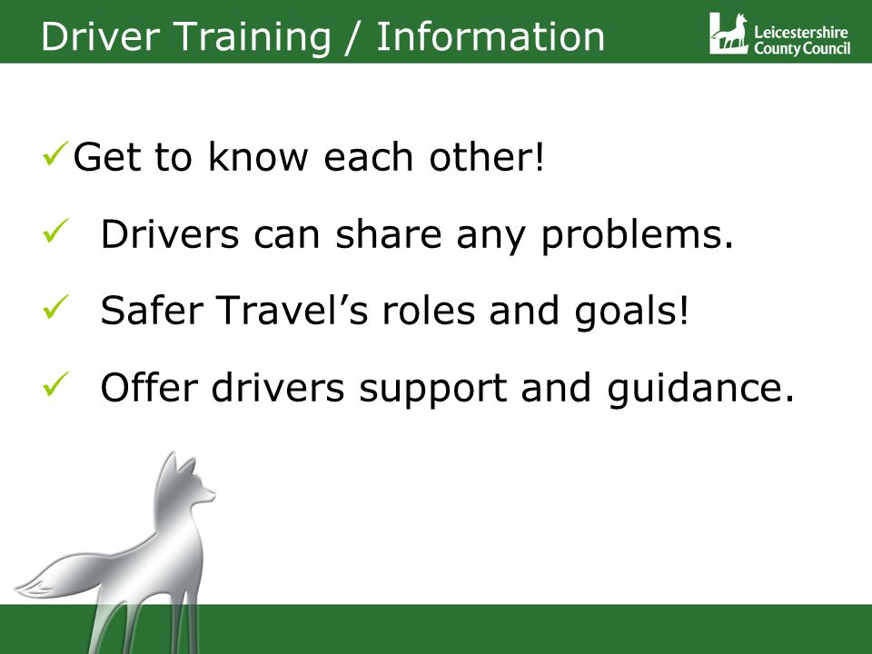 Get to know each other. Drivers can share any problems.