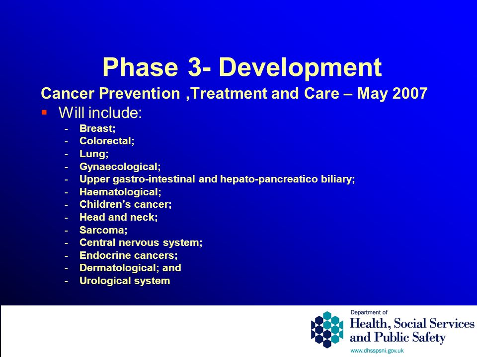 Phase 3- Development Cancer Prevention,Treatment and Care – May 2007 Will include: - Breast; - Colorectal; - Lung; - Gynaecological; - Upper gastro-intestinal and hepato-pancreatico biliary; - Haematological; - Childrens cancer; - Head and neck; - Sarcoma; - Central nervous system; - Endocrine cancers; - Dermatological; and - Urological system