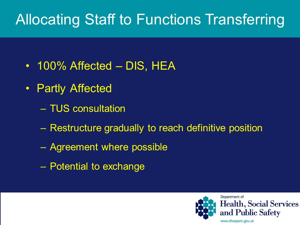 100% Affected – DIS, HEA Partly Affected –TUS consultation –Restructure gradually to reach definitive position –Agreement where possible –Potential to exchange Allocating Staff to Functions Transferring